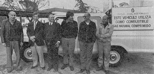 De izquierda a derecha, los ingenieros Fariello, Muratori y Ochoa y los señores Montenagno, Goñi y Pierri, del grupo de trabajo.
